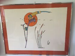 Peter Max Hand Signed Print Framed 54 / 100 1971 22x30 Inches Rare Large