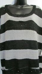 New Womens 2x Striped Black Gray Sequin Sleeveless Dreamstate Top Relativity