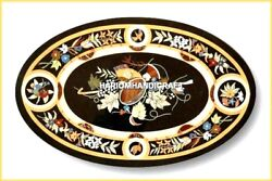 3'x2' Amazing Oval Marble Dining Table Inlay Floral Marquetry Hall Decor H4573
