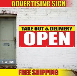 Take Out And Delivery Banner Advertising Vinyl Sign Flag Open Food Fast To Go Here