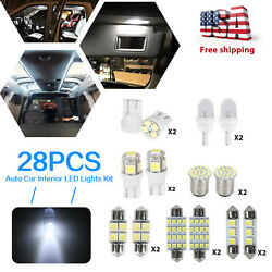 28pcs Auto Car Interior Led Light Dome License Plate Mixed Bulbs Kit Accessories