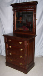 American Victorian Mahogany Lockside High Boy Dresser Chest Of Drawers – Only 34