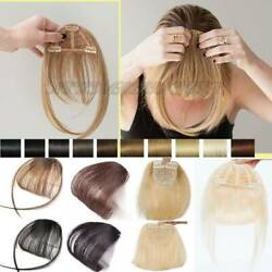 Air Thin Neat Bangs Remy Human Hair Extensions Clip In On Fringe Front Hairpiece