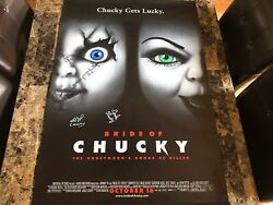 Child's Play Signed 1-sheet Movie Poster Ed Gale Brad Dourif Bride Of Chucky Wow