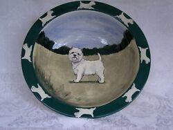 Zeppa Studios Westie Highland Terrier Handpainted Custom Ceramic Serving Bowl