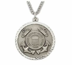 Sterling Silver Coast Guard Medal St. Michael On Back Necklace And Chain