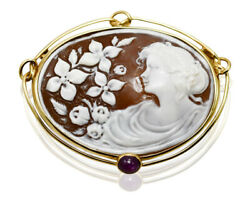 18k Yellow Gold Bezel Vintage Shell Cameo Brooch W/ Star Ruby - Signed