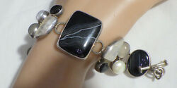 Sterling Beautiful Bracelet W Banded Agate Pearl And Straw Quartz 7