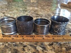 Lot Of Victorian Antique Silverplate Napkin Rings Etched Farm Cherry Greek Key