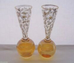Small Exquisite Antique Matching Pair Glass Vases Or Cordials Moser Hand Painted