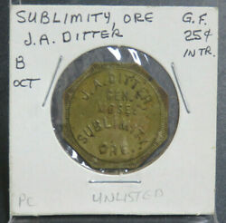 J.a. Ditter Sublimity Oregon Good For 25 Cent In Trade Token