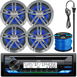 Jvc Kd-t91mbs Bluetooth Cd Receiver 4x 6.5 Chrome Boat Speakers Antenna Wire