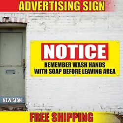 Wash Hands Banner Advertising Vinyl Sign Flag With Soap Before Leaving Area Safe