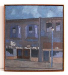 Amazing Original Charming Old Town Cafe Oil Painting By Davenport