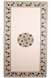 60 X 36 Center Marble Table Top Semi Precious Stone Floral Work