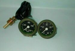 Willys Mb Jeep Ford Gpw Cj - Temperature And Oil Pressure Gauge Olive Green Bezel