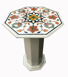 30 Marble White Coffee Table Top With 18 Stand Floral Inlay Work
