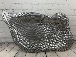 Vintage Pewter Duck Large Tray