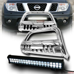 For 05-21 Nissan Frontier Chrome Bull Bar Grille Guard+120w Cree Led Light Lamp