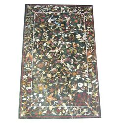 54 X 32 Green Marble Patio / Dining Table Top Inlay Art Decor