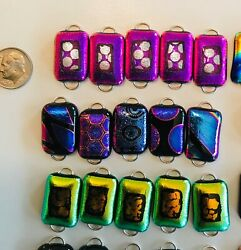 Handmade-50 Dichroic Glass Fused Links 2 Hoops- 10 Sets Of Five- Regular Size-c