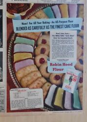 1947 Full Color Newspaper Ad For Robin Hood Flour - Cookies Recipe, Finest Flour