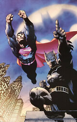 Dc Heroes Unite-superman And Batman-signed By Jim Lee-giclee On Canvas