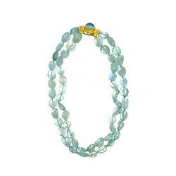 """Vintage"" Elizabeth Locke 19K Gold Aquamarine Bead Necklace"