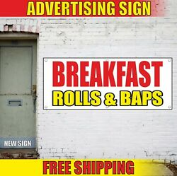 Breakfast Banner Advertising Vinyl Sign Flag Hot Coffee Served Food Rolls And Baps