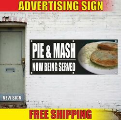 Pie And Mash Banner Advertising Vinyl Sign Flag Hot Food Cafe Bar Now Being Served