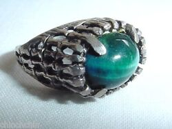 Wondrous Brutalist Bewitching Teal Tiger Eye Special Sterling Silver Ring Size 6