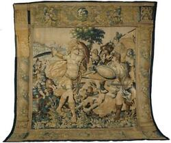 Large 17th C Siege of Tyre Flemish Tapestry Grand Size 12' x 13' AntiqueTextile
