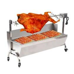 Stainless Steel Bbq Grill Pig Lamb Chicken Spit Roaster Rotisserie Picnic Samger
