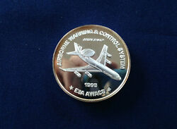 1993 Boeing E3a Awacs Airborne Warning Employeesand039 Coin Club Silver Medal E4662