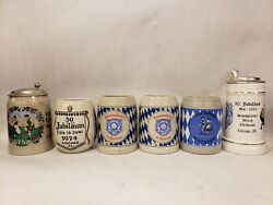 Lot Of 6 Vintage German Edelweiss Jubilaum Chicago And Detroit Beer Steins