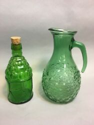 2 Pc.vintage Green Glass Bottle Decanter Pitcher Mcgovern American Army Bitters