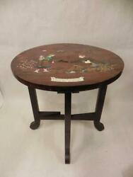 Antique Lacquered Wood Folding Leg Side Table With Enameled Inlays Asian