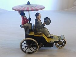 Antique Marke Lehmann Driver And Rider Wind Up Tin Toy Auto Onkel Made In Germany