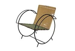 Iron Hoop Chair With Canvas Seat And Wicker Back Unknown Designer