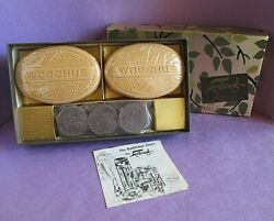 Faberge Vintage Perfume Woodhue Set 2 Soap Cakes And 3 Travel Towels Very Rare