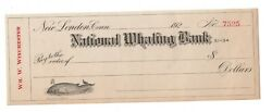Antique Bank Check 1920s Unused National Whaling Bank / Whale Vignette