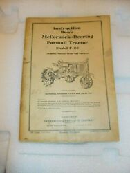 Mccormick Deering F-20 Tractor 1937 Instruction Book Ih + Both Insert Posters
