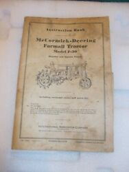 Mccormick Deering F-30 Tractor 1937 Instruction Book Ih + Insert Poster Chart