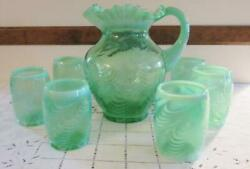 Gorgeous Fenton Glass Green Opalescent Swirl Pitcher And 6 Tumblers  Exc