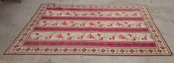 Stark Rugs Open Back Needlepoint Multicolor Red Tone Home Decor Crafted Flowered