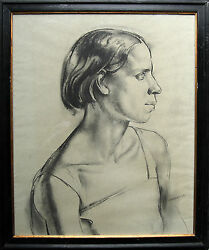 James Stroudley British 1930and039s Art Deco Portrait Drawing Girl Art 1906-1985