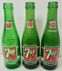 3 Vintage Green Glass 7 Oz 7-up Soda Bottles With Retro Labels Lot 25