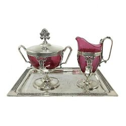 Victorian Silver Plate Creamer And Sugar Set On Tray