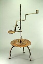 Antique 18/19th C. Wrought Iron Candle Holder, Grease Lamp And Rush Light Device
