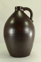 Antique Ea.1800and039s Red/brown Tin-glazed Stoneware Crock 14 Jug Ovoid Form